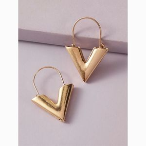 Dainty Geometric V Hoop Drop Earrings